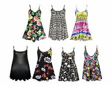 New Womens Camisole Cami Flared Skater Strappy Vest Top Swing Mini Dress 8101214