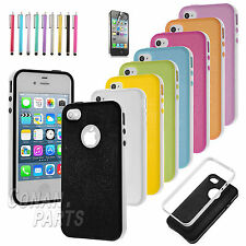 Hybrid Matte Bumper Case Back Cover Skin For iPhone 4/4S Free Screen Protector