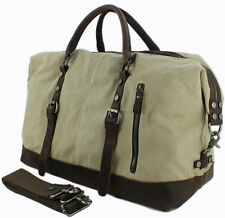 Vintage Military Canvas Leather Women travel Bag Tote luggage bag Duffle bag gym