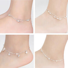 Women 925 Silver Plated Chain Anklet Bracelet Barefoot Sandal Beach Foot Jewelry