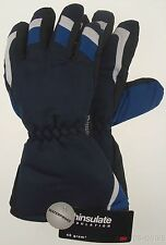 Joe Boxer Boys Blue Black Ski Gloves 3M Thinsulate Waterproof Medium Snow NEW