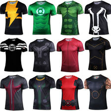 Hommes t shirt Batman spiderman The Hulk Superhero Cycling Jogging Jersey Tops