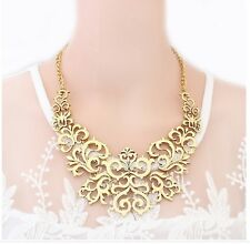 Fashion Retro Style Multi Colors Metal Hollow Out Carved Pattern Bib Necklace