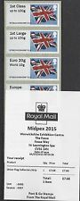 GB 2015 POST & GO MINT & FDC MIDPEX STAMP SHOW UNION FLAG MACHIN SMILER SHEET