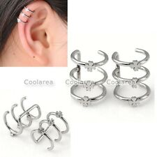 Pair Steel Clover Flower Fake Cheater Ear Cuff Cartilage Helix Clip On Earrings