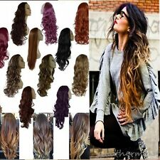 "Worthy Buying 25"" Long Straight Curly 3/4 Full Wigs Two Tone Ombre Hair Half Wig"