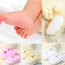 Non-Slip Newborn Infant Baby Toddler Lace Frilly Flower Shoes 3 Colors Girls