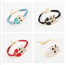 Fashion Women Vintage Multicolor Owl Bracelet Clip On Cute Cuff Bangle Jewelry