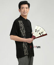 Chinese Traditionary Men's Summer Casual Kung Fu Short Sleeve Shirt Tops M--3XL