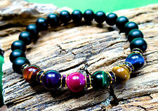 Tiger eye and onyx bracelet w/ crystals 7 chakras pick size FREE shipping