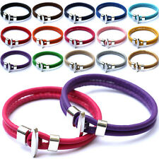 New Fashion Women Men Unisex Punk PU Leather Wristband Alloy Buckle Bracelet