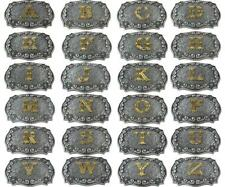 Initial Letters Western Style Cowboy Rodeo Silver/Gold Large Belt Buckles
