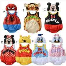 BABY BOYS GIRLS DISNEY CARTOON COSTUME HAT SET SUMMER ROMPER OUTFIT CLOTHES SET