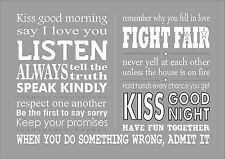 Love Family Rules Kiss Quote Inspiring Inspirational Words Wall Art Typography