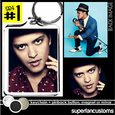 Bruno Mars KEYCHAIN + BUTTON or MAGNET or MIRROR pinback badge key ring #1820