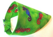 Green Seahorse Cat or small dog or pet bandana novelty Laurel Burch fabric