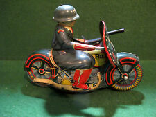 Rare Vintage Military Police Tin Friction Powered Motorcycle Toy Sato? Japan