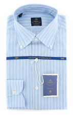New $600 Luigi Borrelli Light Blue Shirt - (EV061509STEFANO)
