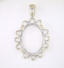 Oval Cabochon Fancy Cameo Pendant Setting Sterling Silver