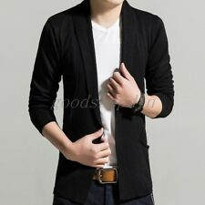 New Casual Knit Cardigan V-Neck Sweater Long Sleeve Knitwear Slim Fit Men's Suit