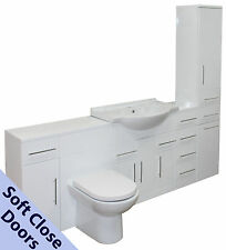 BATHROOM VANITY UNIT BASIN SINK WC SUITE FURNITURE CABINET WHITE GLOSS UNITS NEW