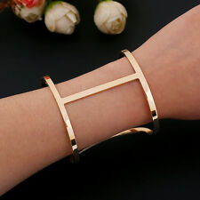 2015 Luxury Punk Designer Gold Silver Simple Hollow Out Wide Cuff Bracet Bangle