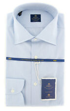 New $600 Luigi Borrelli Light Blue Striped Shirt - (EV0610574GIANNI)