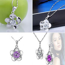 Noble 925  Silver plated  Crystal Stone Inlay Chain Flower Pendant Lady Necklace