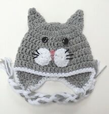 CROCHET CAT KITTY EAR FLAP BABY HAT infant toddler adult beanie cap photo prop