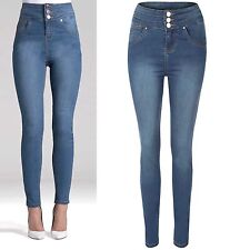 NEW WOMENS DENIM HIGH WAISTED BUTTON SKINNY JEANS LADIES BLUE WASH SLIM PANTS