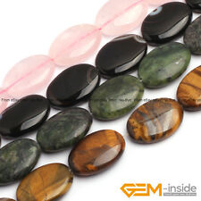 "Natural 18X25mm Assorted Stones Oval Beads For Jewelry Making Strand 15"" Yao-Bye"