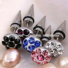 Pair Stainless Steel Crystal Spike Fake 00G 0G Cheater Ear Stud Plugs Earrings