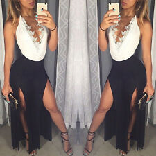 Sexy Womens Deep V-neck Backless Maxi Lace Splicing Party Prom Ball Long Dress