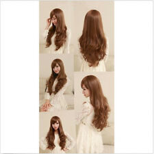 Womens Girls Long Curly Wavy Full Wigs Cosplay Party Costume Brown/Black Wig+Cap