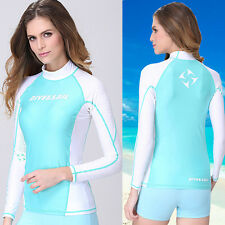 Ladies Surf  Rash Guard Women's Long Sleeve Swim Shirt Swimwear Skins Sun Shirt