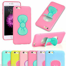 3D Cute Butterfly Bow Stand Silicone Kick Stand Case Cover for iPhone 5 5S 6 6P