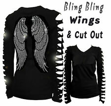 JUNIOR PLUS SIZE ANGEL WINGS RHINESTONE,RIPPED SLIT CUT OUT LONG SLEEVE T-SHIRT