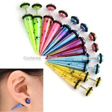 6 Pair Mixed Color Acrylic Spot Spike Taper Fake Cheater Ear Stud Plugs Earrings