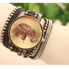 Lady Elephant Pattern Dress Analog Quartz Watches Velvet Band Bracelet Watches