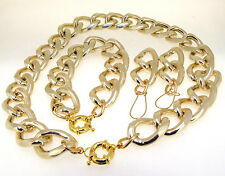 Newest Shiny Big Cut Face LIGHT GOLD Chunky Aluminium Curb Chain Necklace Br/set