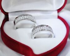 His & Hers 1.6CT Engagement Wedding Bands Set Platinum Finish Made in ITALY