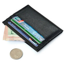 Black Slim Leather Credit Card Holder Case Mini Wallet ID Case Purse Bag Pouch