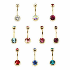 PVD Gold Titanium 1.6mm Double Jewelled Belly Bar