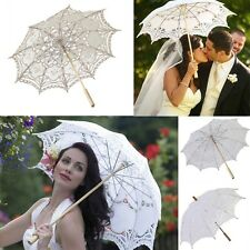 Multi-colors Lace Parasol Umbrella & Hand Fan for Wedding Taking photos UK STOCK
