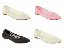 WOMENS LACE CASUAL EVENING WEDDING PARTY FLAT DOLLY PUMPS SHOES LADIES SIZE 3-8