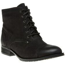New Womens Lotus Black Drift Leather Boots Ankle Lace Up