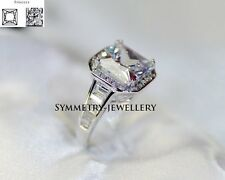 *3.8CT Princess Cut Engagement Wedding Ring Platinum F.22KT Silver Made in Italy