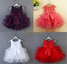 New Flower Girl Kid Sleeveless Baby Wedding Party Baptism Christening Tutu Dress