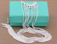 """wholesale 10PC 925sterling solid silver 1MM snake chain necklace 16""""-30"""" DC08"""