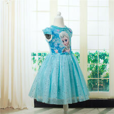 Luxury Frozen ANNA ELSA PRINCESS DISNEY KIDS COSTUME PARTY DRESS Premium Cotton